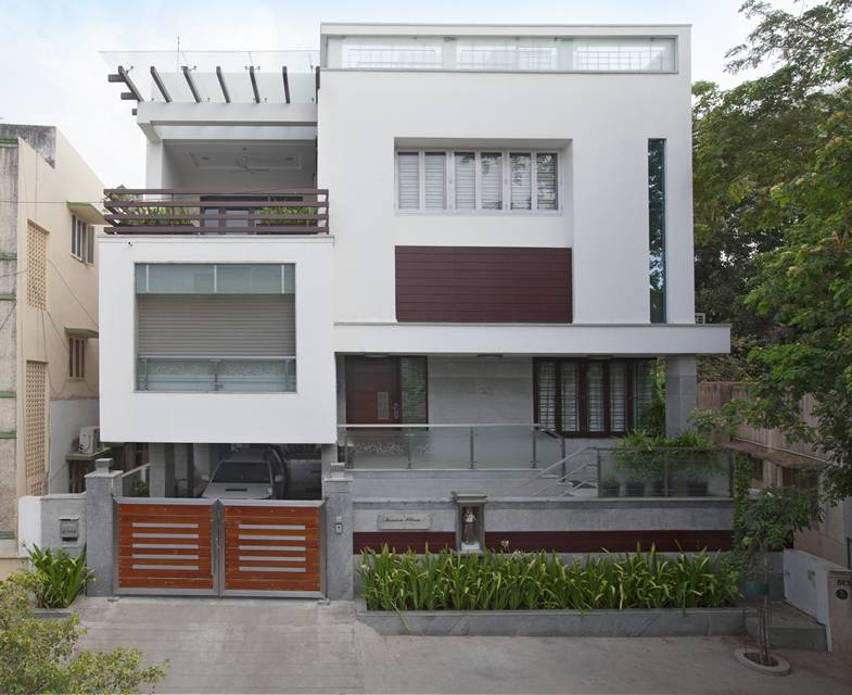 Award winning house at kk nagar chennai designed by for Best exterior home designs in india