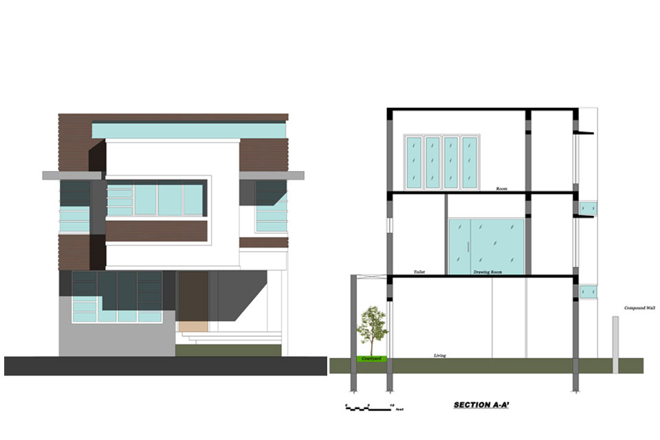 Modern House Front Elevation Drawing : Simple front elevation house great modern