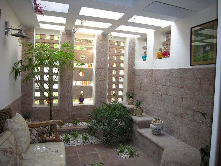 Stone courtyard house ansari architects chennai Home interior design ideas in chennai